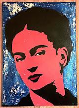 Foto: Frida Pink and Blue  50x70cm  Foglia argento su tela Stencil con ausilio di vernici acriliche spray  DISPONIBILE  Per informazioni e prezzi: manualedelrisveglio@gmail.com