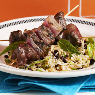 Minted Rice Salad with Kebabs.