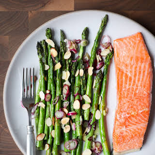 One-Pan Salmon and Asparagus With Spring Onions.