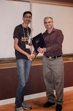 Photo: Rohin Shah accepting the Departmental Citation.
