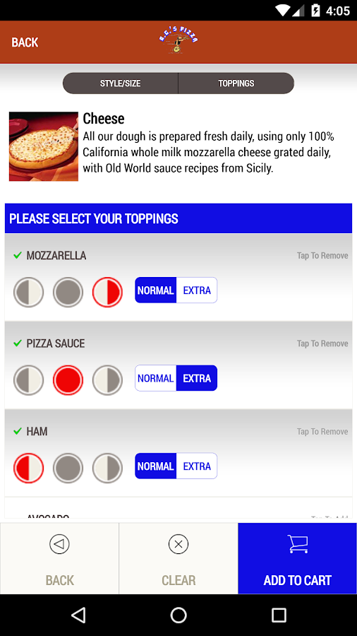 BC's Pizza- screenshot