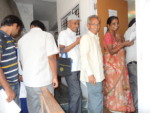 Photo: Voters at the polling booth - GHMC Elections