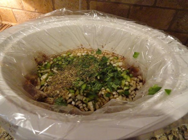With 1-1 1/2 lbs of shredded tender beef remaining in crock pot, remove enough...