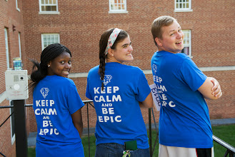 """Photo: Whiteford RA Staff in """"Keep Calm and Be Epic"""" students (left to right) Ramatullah Deme '14, Jenny Grillo '16, Brandon Boatman '14."""