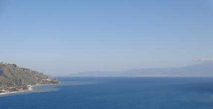 Photo: Beyond the bay, the straits of Messina and the Calabrian coast