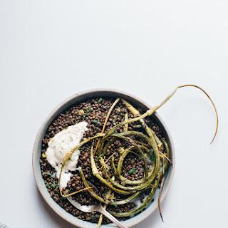 Herbed Black Beluga Lentils W/ Garlic Scapes + Yogurt Sauce (v + Gf)