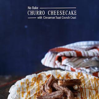 No Bake Churro Cheesecake with Cinnamon Toast Crunch Crust.