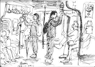 Photo: 捷運車廂2011.02.11鋼筆 捷運車廂少不了的是人潮,難得這時候人好少,趕緊坐下來畫一畫。