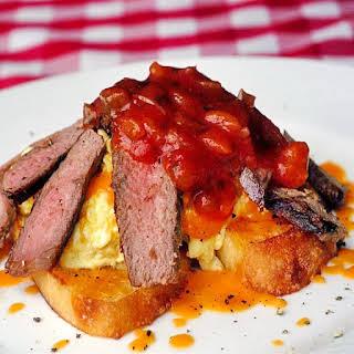 Salsa, Steak and Cheese Breakfast Scramble.