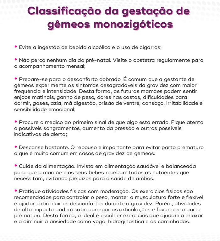 Classificação da gestação de gêmeos monozigóticos