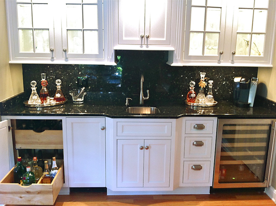 Photo: Factory Builder Stores, a multi-location StarMark Cabinetry dealer in Texas, sent us pics of a deluxe kitchen that also has a great bar and office. It was created  with the LaFontaine inset door in Maple finished in White. The project was a remodel in Houston, Texas. Great work, Factory Builder Stores!   www.factorybuilderstores.com/