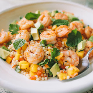 Shrimp and Israeli Couscous Salad with Mango and Avocado.