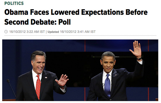 "A news article from 2012 with the headline ""Obama Faces Lowered Expectations Before Second Debate."""