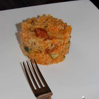Risotto with Small Vegetables and Chorizo.