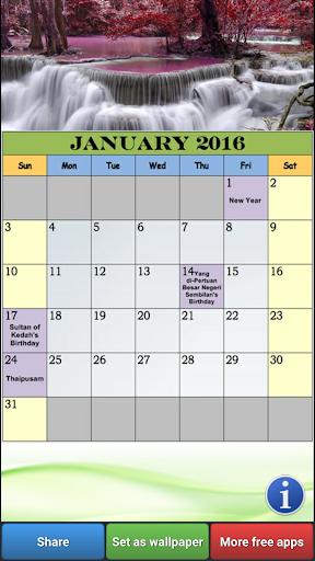 Malaysia 2016 Calendar