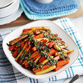 Roasted Balsamic Root Vegetables with Basil Almond Pesto Recipe