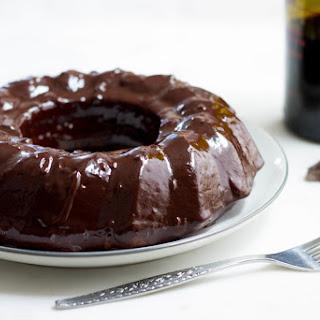 Dark Chocolate Cake with Red Wine Glaze