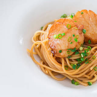Spaghetti with Soy Sauce Butter Scallops.