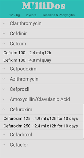Millidos - Pediatric Drug Dosages 3.5 screenshots 4