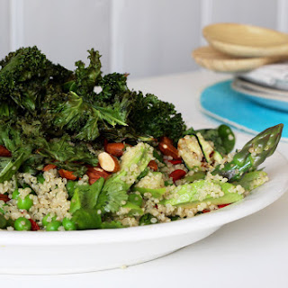 Spring Vegetable Quinoa Salad with Crispy Kale and Toasted Almonds