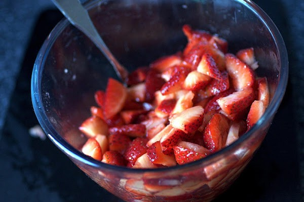 Cut the strawberries into halves or quarters or freestyle depending on the size of...