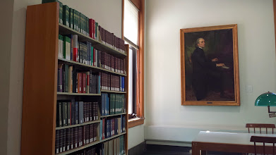 Photo: a corner of the Genealogy Reference Room at the Newberry Library.