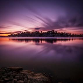 Early Dawn by Patrick Pedersen - Landscapes Waterscapes ( water, indigo, purple, waterscape, vann, landscape, subtle, fredrikstad, dawn, blue, sunset, patrick pedersen, aqua, color of light )