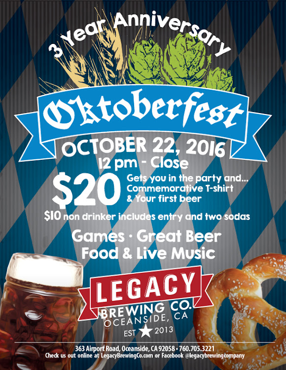 Logo for 3 Year Anniversary Oktoberfest Party @ Legacy Brewing Company
