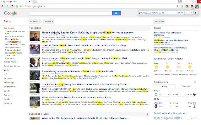 Chrome Regex Search