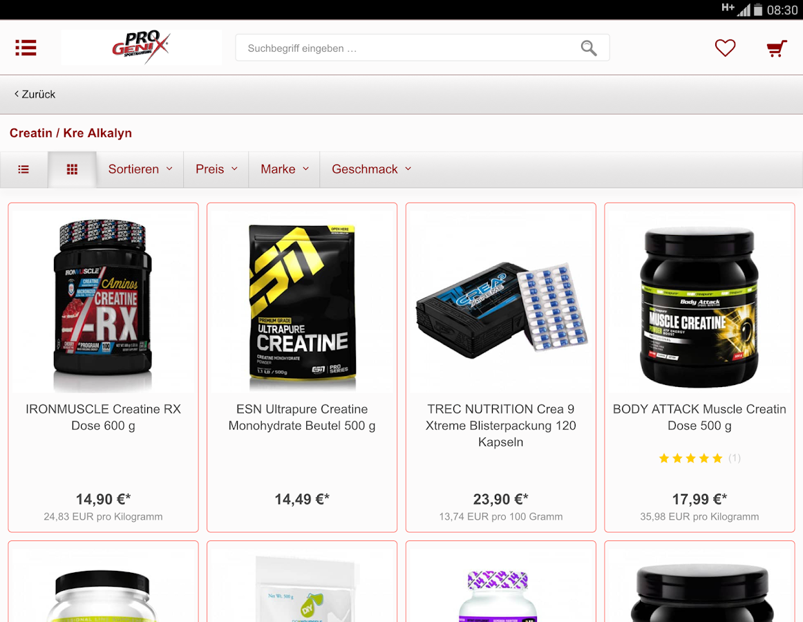 Progenix Sportnahrung- screenshot