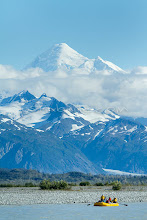 """Photo: Mount Fairweather in full view while on a  raft trip down the Tashenshini River. The """"Tat"""" flows out of Yukon, CA, through British Columbia and empties into Glacier Bay National Park in Alaska, US."""