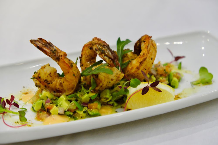 Cajun butter prawns with avo salsa and sweet chilli yoghurt