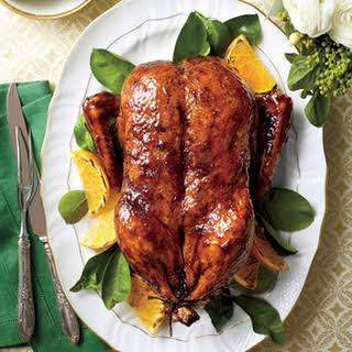 Classic Roasted Duck with Orange-Bourbon-Molasses Glaze.