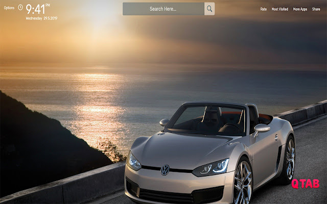 Sunset with Car Wallpapers HD Theme