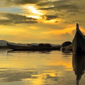 B O A T by Tamin Ibrahim - Transportation Boats ( sunset, lake, boat )