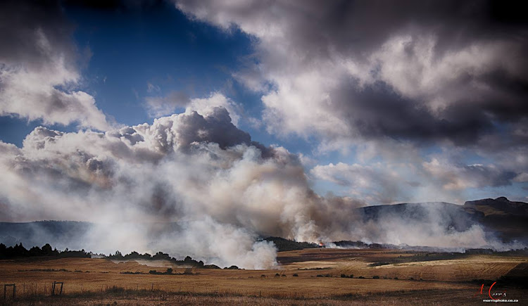 A fire broke out about 10km outside Hermanus, Western Cape on December 25 2018.