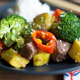 At Home Steak Hibachi with Vegetables.