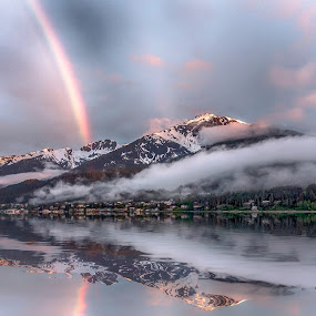 Rainbow and Reflections Juneau, Alaska by Katherine Rynor - Landscapes Mountains & Hills ( clouds, mountains, sunset, snow, juneau, reflections, rainbow,  )