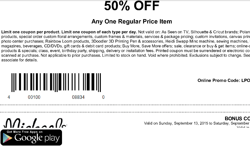Coupons for Michaels- screenshot