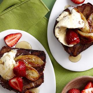 Banana Bread with Caramelized Bananas and Honeycomb Ice Cream