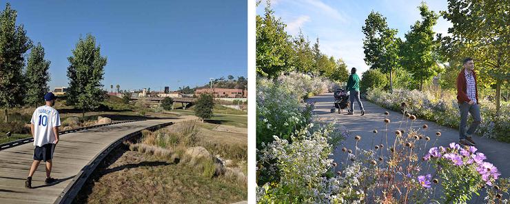 izquierda: Los Angeles State Historic Park, foto a través de Weekend Sherpa.   derecha: Corktown Common, foto a través de MVVA.