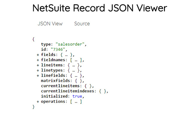 NetSuite Record JSON Viewer