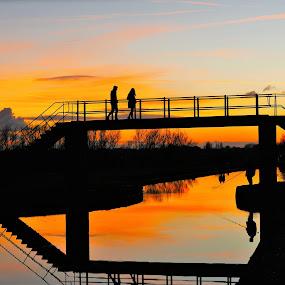 Sunset Bridge  by Scott Williams-Collier - Landscapes Sunsets & Sunrises