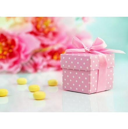 Presentaskar - rosa med vita prickar