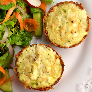 Potato-Crusted Salmon & Goat Cheese Quiches