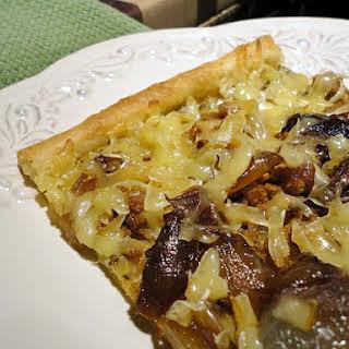 Sausage Caramelized Onions Smoked Gouda Pizza.