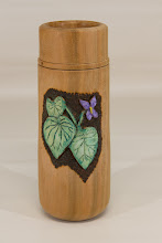 "Photo: Ed Karch 2 1/2"" x 7"" carved, burned, and colored tall cup [cherry]"