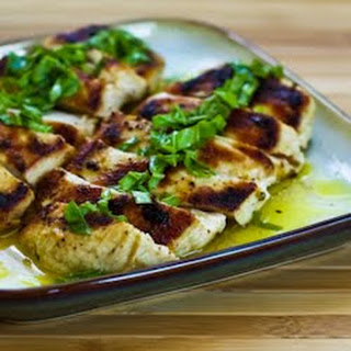Mustard, Lemon, and Coriander Grilled Chicken Breasts with Lemon-Basil Vinaigrette