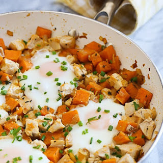 Skillet Sweet Potato Chicken Hash with Eggs