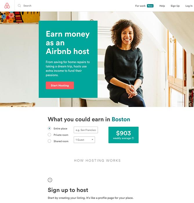 Целевая страница регистрации на Airbnb